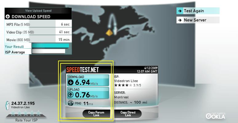 Résultat du tests de vitesse Internet