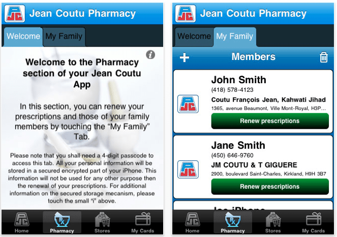 Application Jean Coutu sur iOS