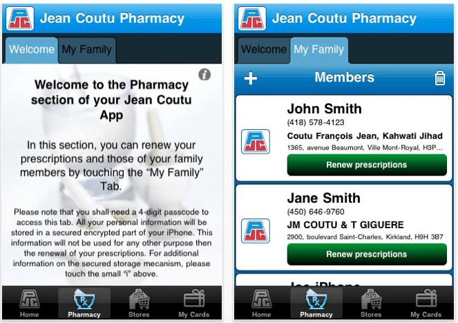 Application Jean Coutu sur iOS