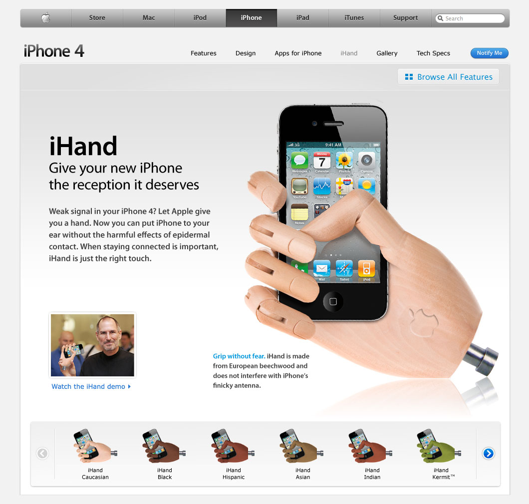 iHand : la solution au problème de réception du iPhone 4