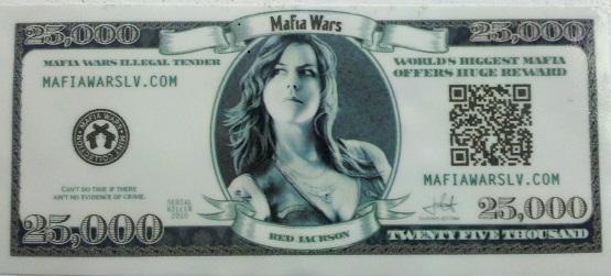 billet de 25 000$ personnalisé à la Mafia Wars