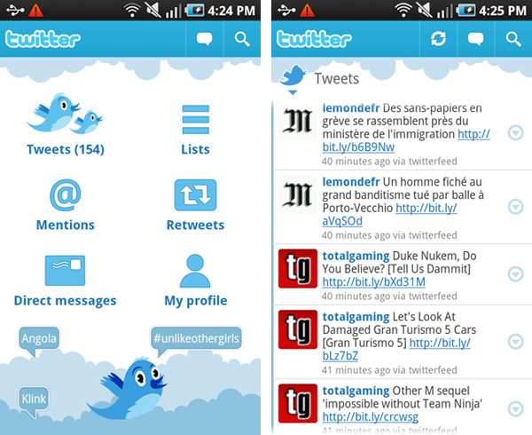 Samsung, Galaxy S, Android, Apps, Phone, Twitter