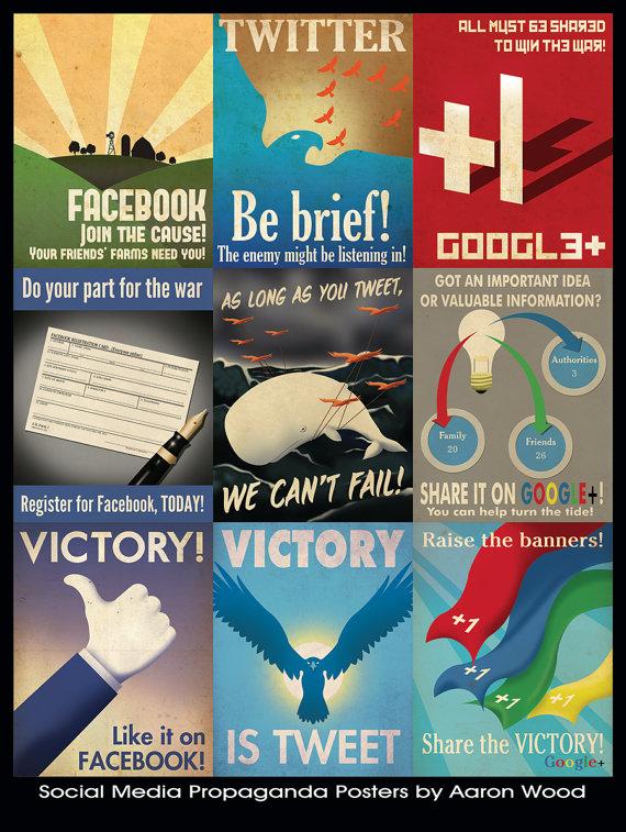 Des posters média sociaux style propagande