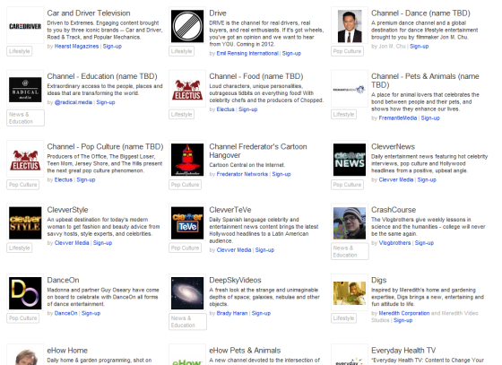 YouTube annonce des chaînes de télévision à son contenu