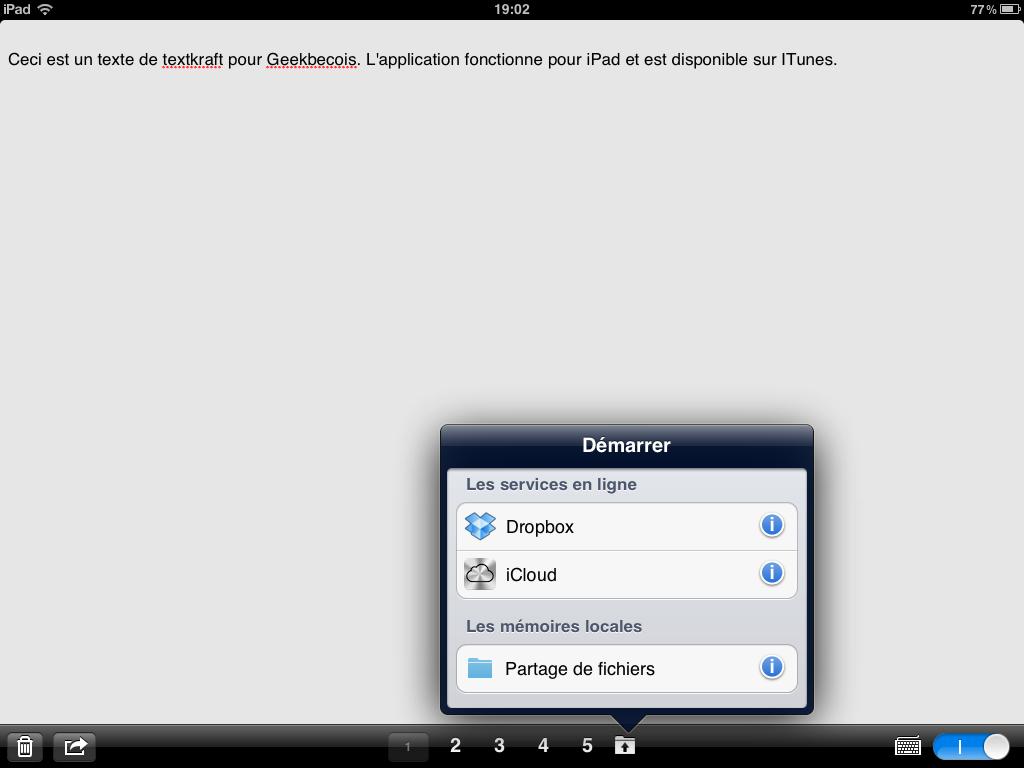 Un traitement de texte intelligent pour IPad: TextKraft