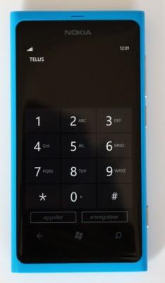 L'écran de composition téléphonique de Windows Phone du Lumia 800