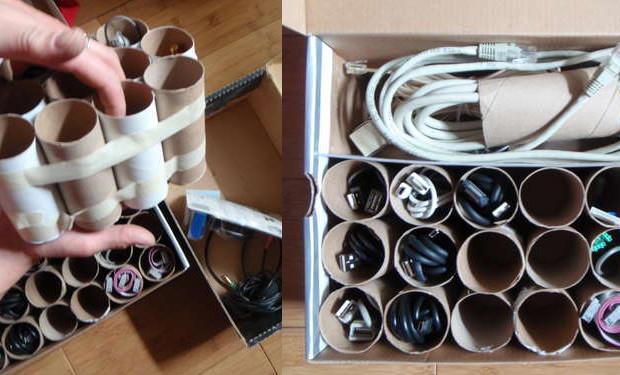 Organiser ses câbles avec des rouleaux de papier toilette