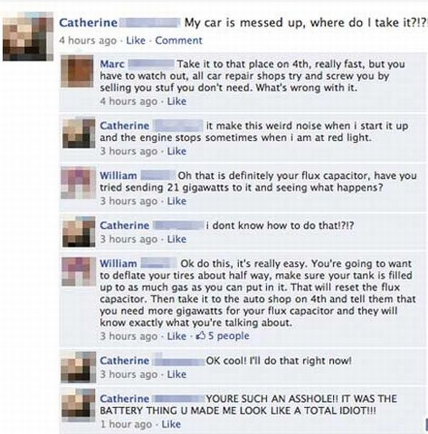 Car Joke Funny Humor Facebook Problem Flux Capacitor Help
