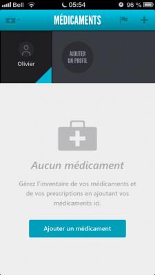 L'écran d'accueil de l'application. Celle-ci permet l'ajout de médicaments et la gestion du profil de l'usager.