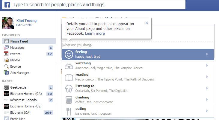"""Facebook: nouvelle fonctionnalité """"Partager nos sentiments et plus"""""""