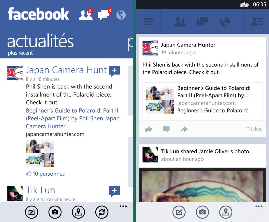 Voici un extrait d'un flux d'actualités sur Facebook pour Windows Phone. L'ancienne version est à gauche et l'image tirée de la bêta est à droite.
