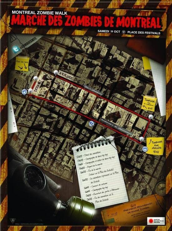 Carte de la Marche des Zombies de Montréal 2013
