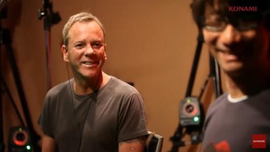 Kiefer Sutherland, qui interprète Snake, en compagnie d'Hideo Kojima lors d'une séance de Motion Capture.