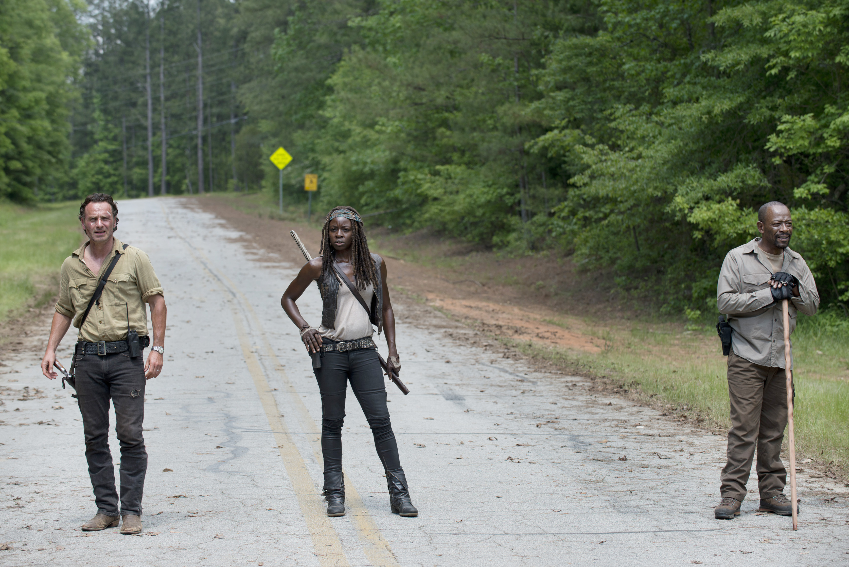 Andrew Lincoln / Rick Grimes, Danai Gurira / Michonne et Lennie James / Morgan Jones - The Walking Dead Saison 6 Épisode 1 - Crédit photo : Gene Page/AMC
