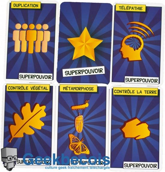 Cinq exemples des cartes Superpouvoir