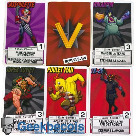 Cinq exemples des cartes Supervilain