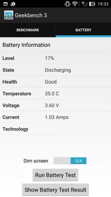 ASUS ZenFone 2 Laser | Geekbench3 - Battery