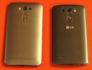 ASUS ZenFone 2 Laser et LG G3 - Dos