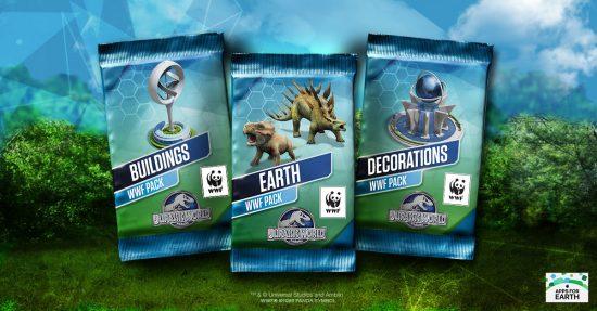 """Les 3 packs spéciaux """"Jour de la Terre"""" 2016 du jeu de Ludia Jurassic World™: Le jeu"""