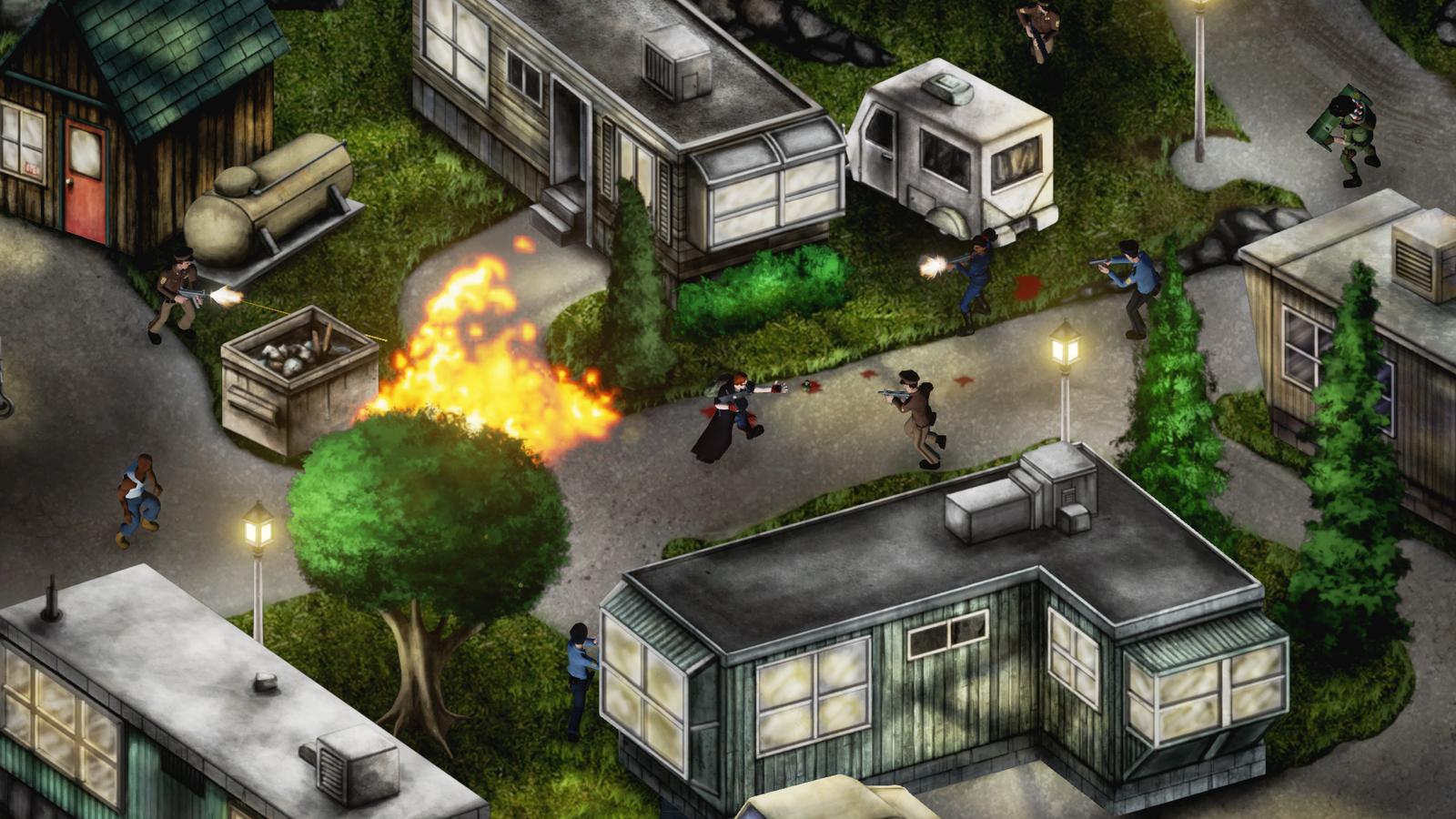 """Une fusillade dans un """"trailer park"""", un des 16 niveaux du jeu."""