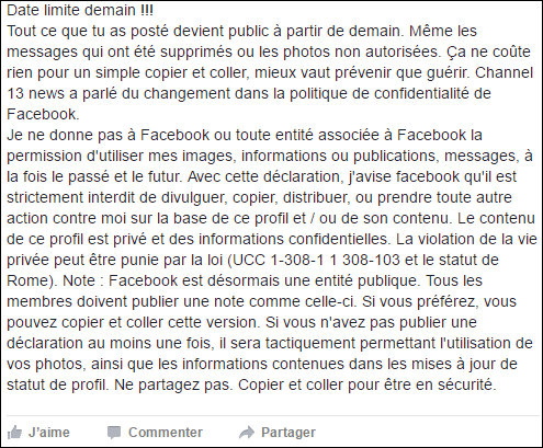 Exemple du canular Facebook