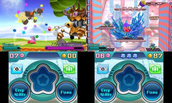 À gauche : Kirby affront un boss. À droite : une séquence de plateformes du jeu