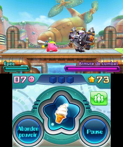 Kirby, armé de l'équipement de Link, affront une ennemi équipé d'une armure robotisée. Vaincre cet ennemi permettre à Kirby d'en prendre possession