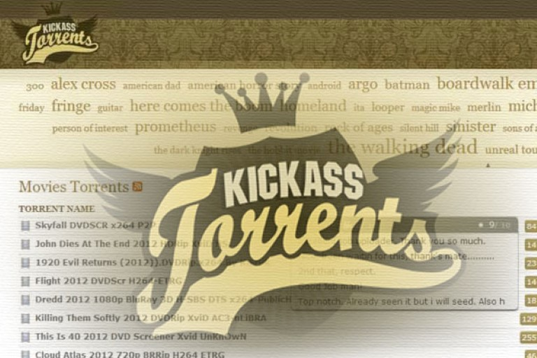 La page d'accueil de Kickass Torrents