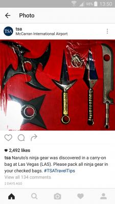 Naruto aurait à se passer d'avoir ses armes à portée de main lors d'un vol.