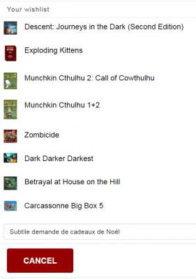 Liste de souhait pour Game Box Monthly