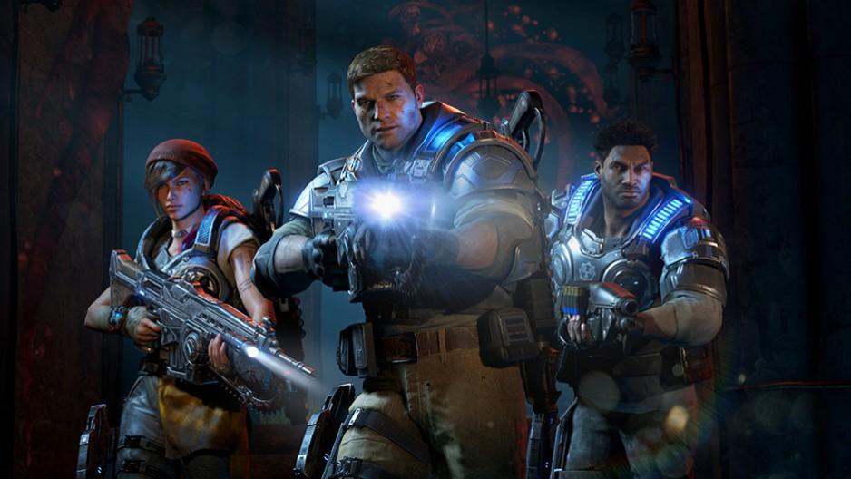 Le héros de Gears of War 4, JD, en compagnie de ses coéquipiers Del et Kait, est sur le point de faire une découverte morbide | Gears of War 4