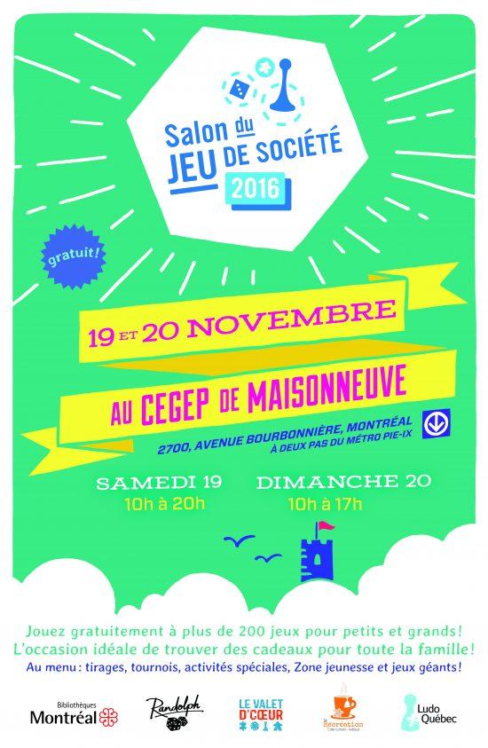 Affiche du Salon du Jeu de Société 2016 par Ludo Québec