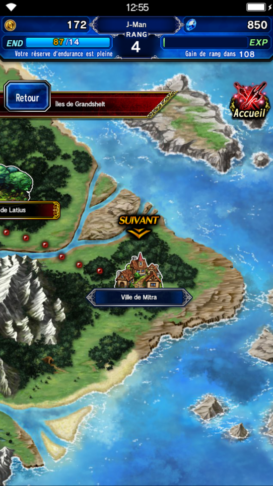Final Fantasy Brave Exvius - Carte du monde