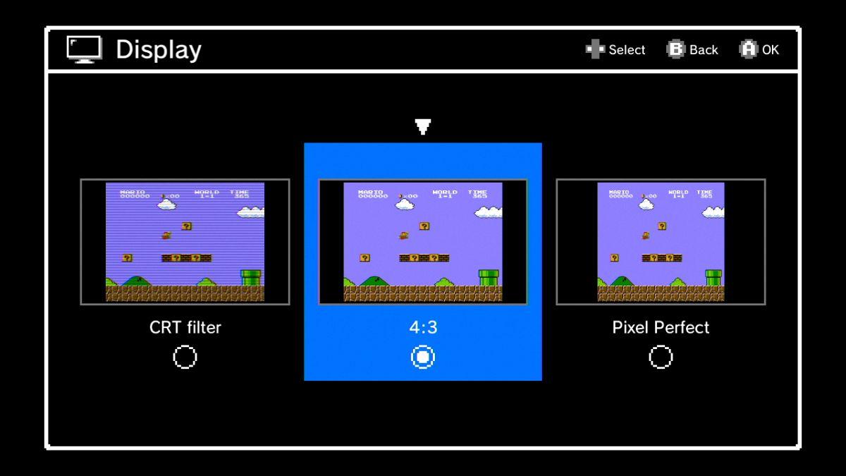 Trois modes d'affichage sont disponibles. On peut avoir une expérience rétro avec le mode CRT Filter ou HD avec le mode Pixel Perfect