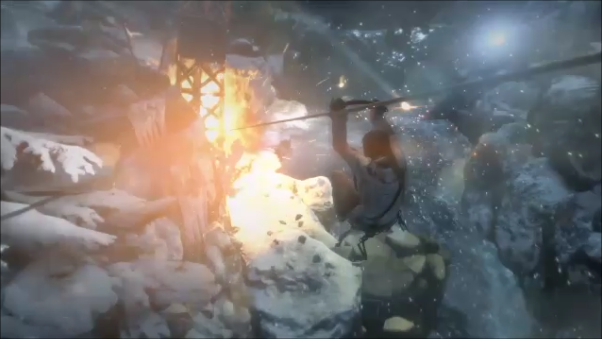 Lara Croft sur une tyrolienne