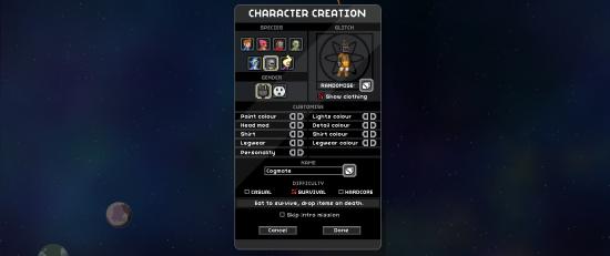 Le menu de création du personnage de Starbound