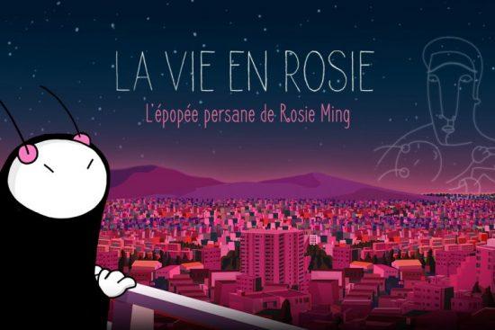 """L'affiche du film """"La vie en Rosie : L'épopée persane de Rosie Ming"""" aux sommets du cinéma d'animation"""