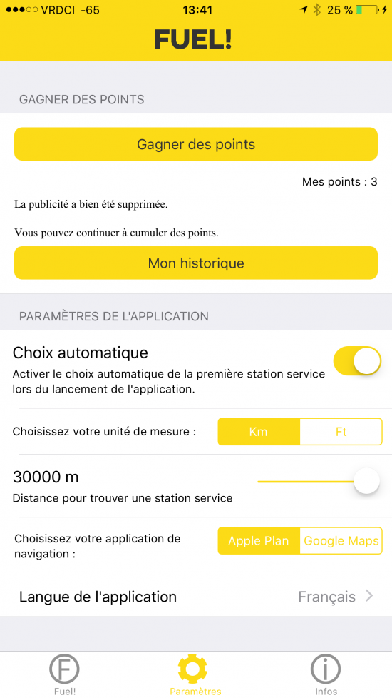 Capture d'écran de l'application Fuel !