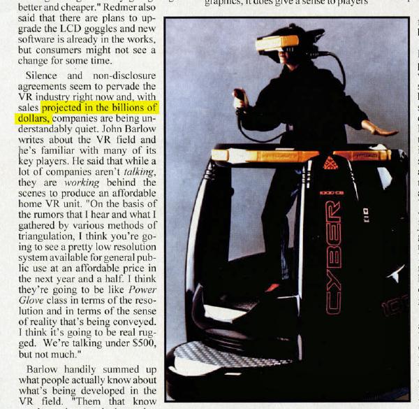 Un article de magazine datant de 1994 nous promettait déjà à l'époque que la réalité virtuelle envahirait nos salons d'ici quelques années.