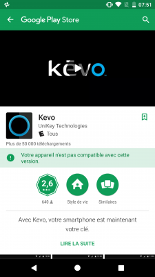 Application Kévo sur le Google Play Store