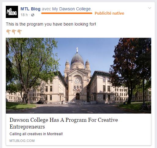 Sur Facebook, il est obligatoire d'identifier l'annonceur derrière la publicité native lors de la publication de l'article en question (capture).