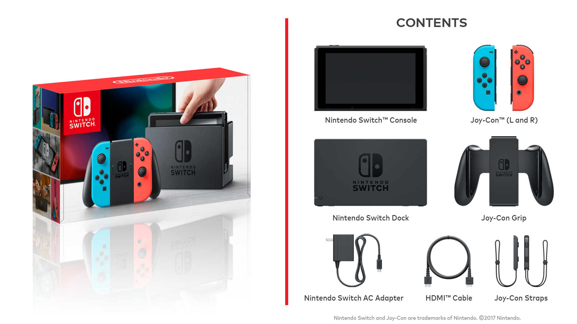 Le contenu de la boîte de la Nintendo Switch