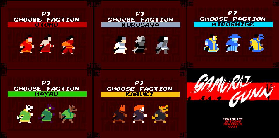 Les personnages disponibles. | Samurai Gunn