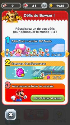 On peut faire une de trois choses pour aller au premier château. Une seule permet de jouer au reste du jeu. - Super Mario Run