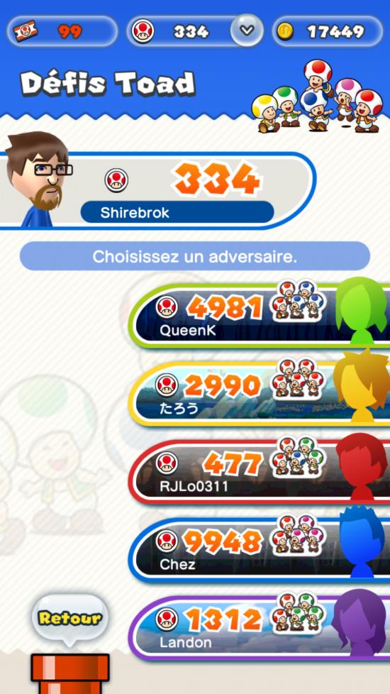 On peut choisir notre adversaire, et donc la couleur des Toads gagnés. - Super Mario Run