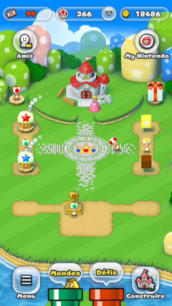 On peut rendre le royaume plus joli, mais je n'en vois pas l'intérêt. - Super Mario Run