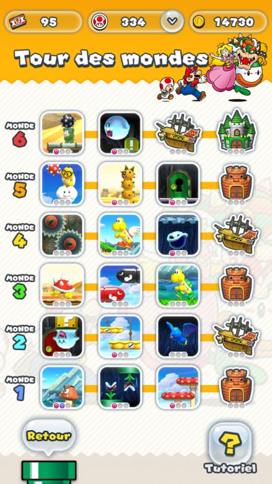 L'entièreté des tableaux disponibles peut être vue sur un seul écran. - Super Mario Run