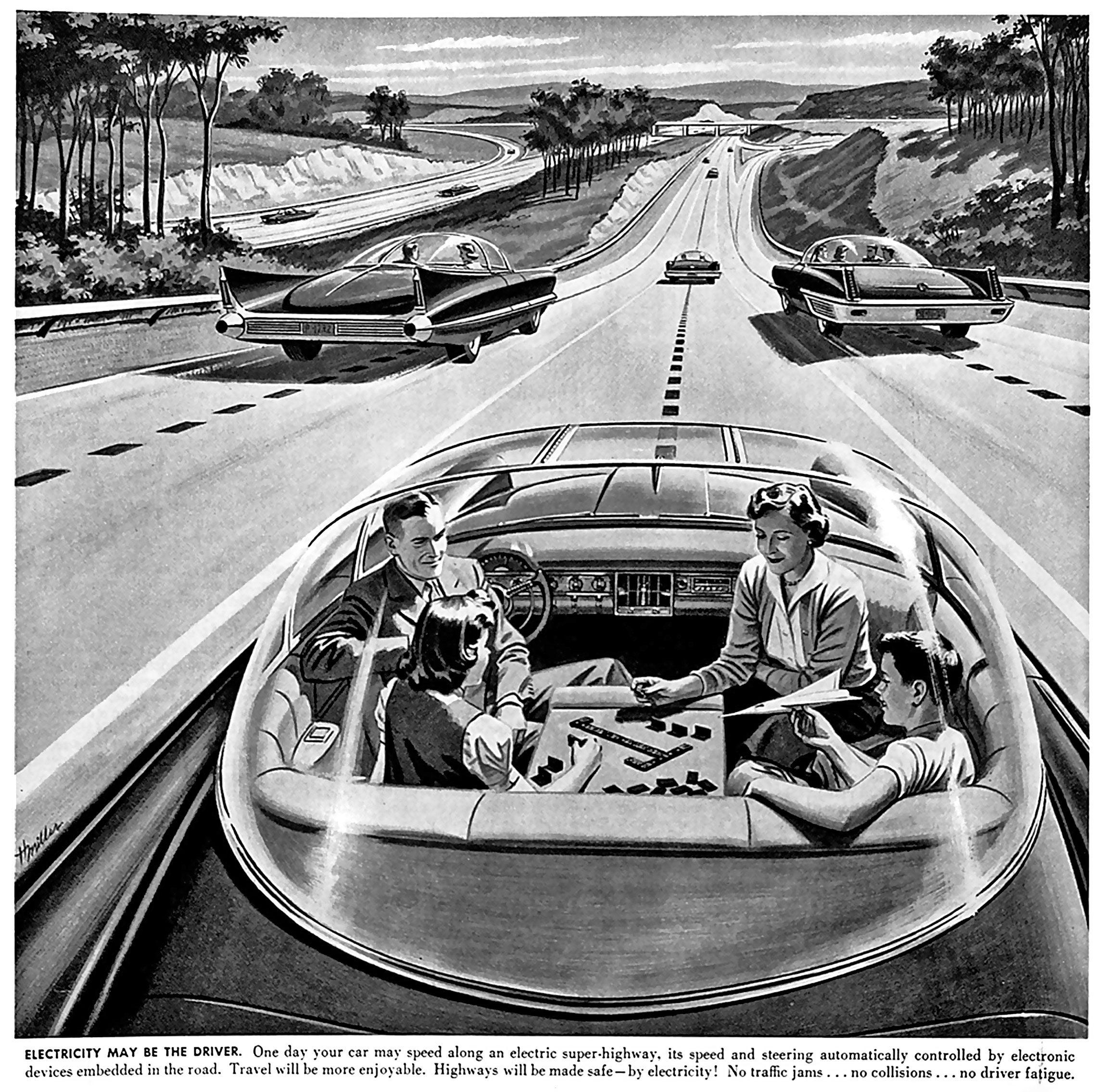 Les véhicules autonomes selon un illustrateur en 1958. Image: James Vaughan / Flickr (détail)