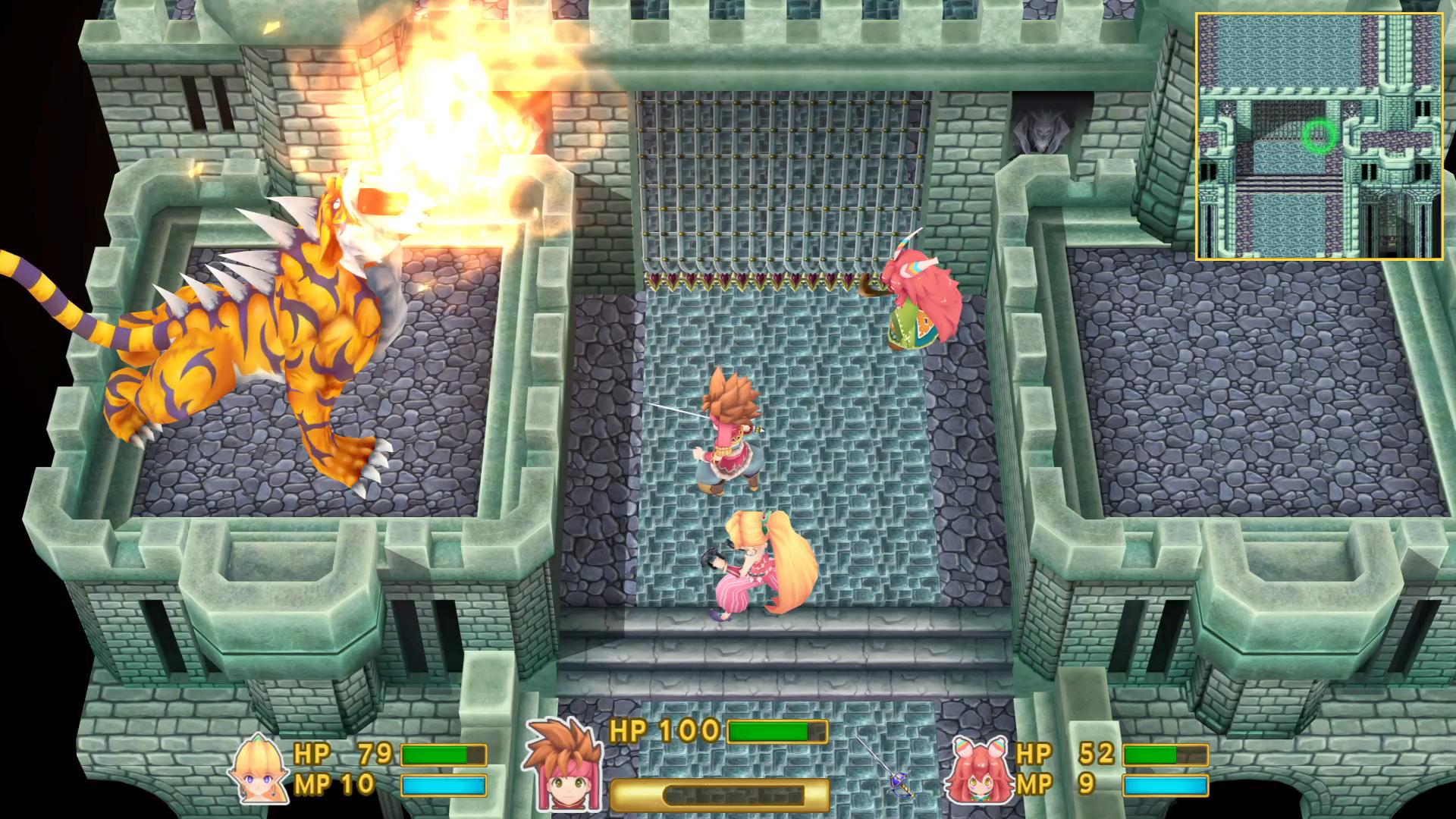Secret of Mana combat contre un boss