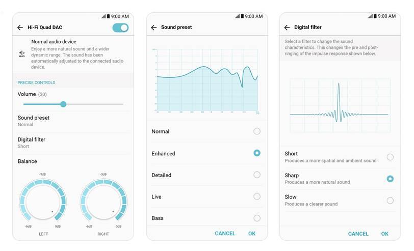 Captures d'écran des paramètres audio : filtres numériques et pré-réglages audio